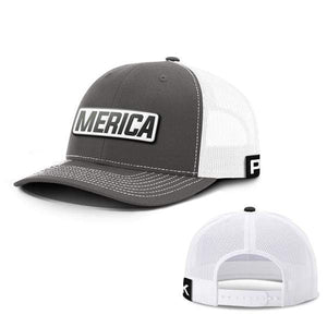 Printed Kicks Snapback Hat Snapback Hat / Charcoal And White / OSFA Merica White Leather Patch Snapback Hat (15 Variants)