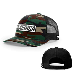 Printed Kicks Snapback Hat Snapback Hat / Green Camo And Black / OSFA Merica White Leather Patch Snapback Hat (15 Variants)