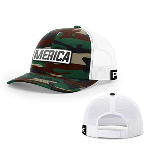 Printed Kicks Snapback Hat Snapback Hat / Green Camo And White / OSFA Merica White Leather Patch Snapback Hat (15 Variants)