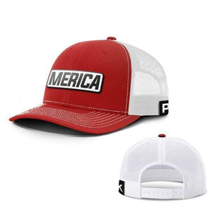 Printed Kicks Snapback Hat Snapback Hat / Red And White / OSFA Merica White Leather Patch Snapback Hat (15 Variants)