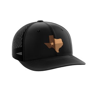 Print Brains Snapback Hat Texas Leather Patch Hat / Black/Black / One Size Texas Leather Patch Hat (6 Variants)