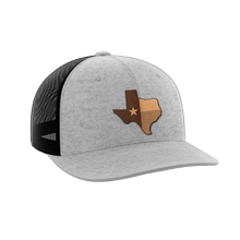 Load image into Gallery viewer, Print Brains Snapback Hat Texas Leather Patch Hat / Heather Gray/Black / One Size Texas Leather Patch Hat (6 Variants)