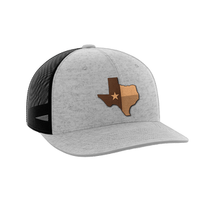 Print Brains Snapback Hat Texas Leather Patch Hat / Heather Gray/Black / One Size Texas Leather Patch Hat (6 Variants)