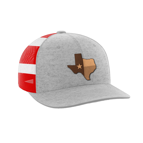 Print Brains Snapback Hat Texas Leather Patch Hat / Heather Gray/Flag / One Size Texas Leather Patch Hat (6 Variants)