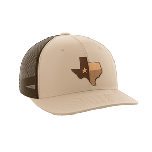Print Brains Snapback Hat Texas Leather Patch Hat / Khaki/Coffee / One Size Texas Leather Patch Hat (6 Variants)