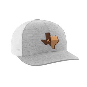 Print Brains Snapback Hat Texas Leather Patch Hat / White/Deep Heather / One Size Texas Leather Patch Hat (6 Variants)