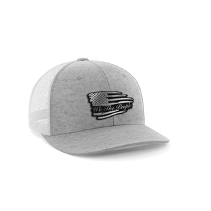 Print Brains Snapback Hat Torn Flag We The People Leather Patch Hat / White / One Size Torn Flag We The People Leather Patch Hat (6 Variants)