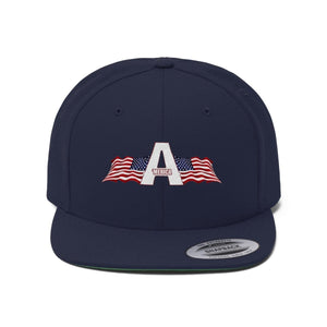 Printify Snapback Hat True Navy / One size 'Merica American Patriots Apparel Logo Flat Bill Hat (6 Variants)