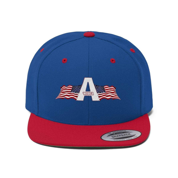 Printify Snapback Hat True Royal/True Red / One size 'Merica American Patriots Apparel Logo Flat Bill Hat (6 Variants)