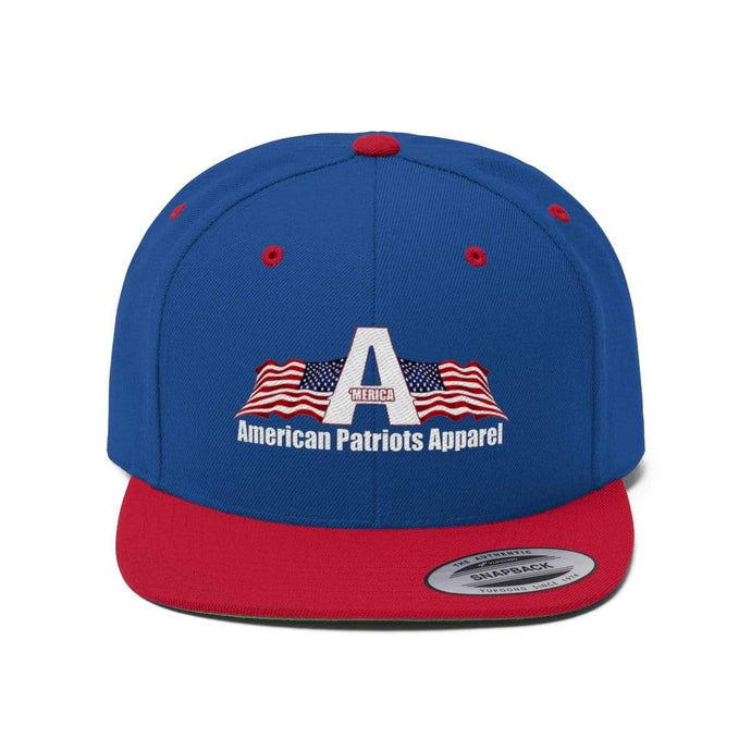 Printify Snapback Hat True Royal/True Red / One size Merica American Patriots Apparel Logo With White Text Hat (6 Variants)