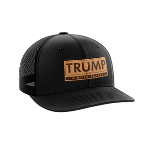 Print Brains Snapback Hat Trump - 4 More Years Leather Patch Hat / Black/Black / One Size Trump - 4 More Years Leather Patch Hat (6 Variants)