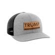 Load image into Gallery viewer, Print Brains Snapback Hat Trump - 4 More Years Leather Patch Hat / Heather Gray/Black / One Size Trump - 4 More Years Leather Patch Hat (6 Variants)
