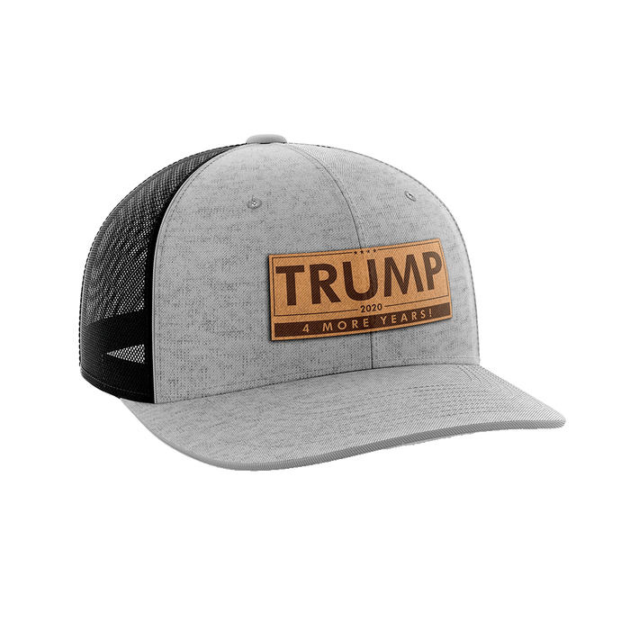 Print Brains Snapback Hat Trump - 4 More Years Leather Patch Hat / Heather Gray/Black / One Size Trump - 4 More Years Leather Patch Hat (6 Variants)