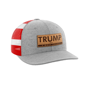 Print Brains Snapback Hat Trump - 4 More Years Leather Patch Hat / Heather Gray/Flag / One Size Trump - 4 More Years Leather Patch Hat (6 Variants)