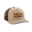 Load image into Gallery viewer, Print Brains Snapback Hat Trump - 4 More Years Leather Patch Hat / Khaki/Coffee / One Size Trump - 4 More Years Leather Patch Hat (6 Variants)