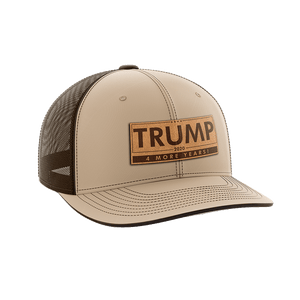 Print Brains Snapback Hat Trump - 4 More Years Leather Patch Hat / Khaki/Coffee / One Size Trump - 4 More Years Leather Patch Hat (6 Variants)
