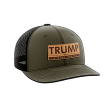 Load image into Gallery viewer, Print Brains Snapback Hat Trump - 4 More Years Leather Patch Hat / OD Green/Black / One Size Trump - 4 More Years Leather Patch Hat (6 Variants)