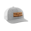 Load image into Gallery viewer, Print Brains Snapback Hat Trump - 4 More Years Leather Patch Hat / White/Deep Heather / One Size Trump - 4 More Years Leather Patch Hat (6 Variants)