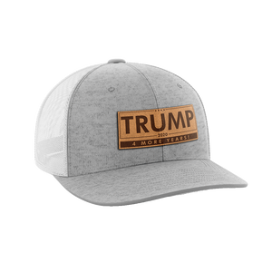 Print Brains Snapback Hat Trump - 4 More Years Leather Patch Hat / White/Deep Heather / One Size Trump - 4 More Years Leather Patch Hat (6 Variants)