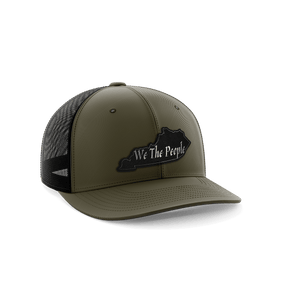 Print Brains Snapback Hat We The People Kentucky Leather Patch Hat / Military Green / One Size We The People Kentucky Leather Patch Hat (6 Variants)