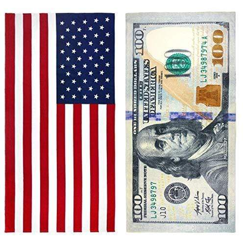 Ben Kaufman Towel Default $100 Bill & American Flag Patriotic Beach Towel Set - 2 Towels