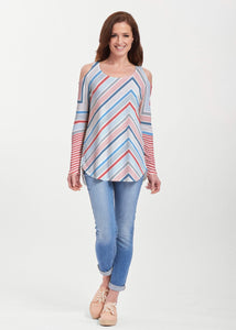 American Patriots Apparel Tunic Beach Stripe RWB (13411) ~ Cold Shoulder Tunic