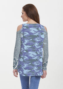 American Patriots Apparel Tunic Camo-Floral Blue (9238) ~ Cold Shoulder Tunic