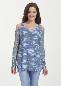 American Patriots Apparel Tunic M Camo-Floral Blue (9238) ~ Cold Shoulder Tunic