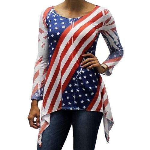 The Flag Shirt Tunic Red/White/Blue / S / V-Neck 3/4 Sleeve Women's American Flag Shark Bite Tunic