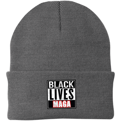 CustomCat Winter Hats Athletic Oxford / One Size Black Lives MAGA CP90 Knit Cap (16 Variants)