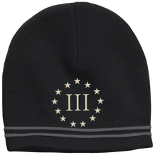 Load image into Gallery viewer, CustomCat Winter Hats Black/Iron Grey / One Size III% Stars STC20 Colorblock Beanie (3 Variants)