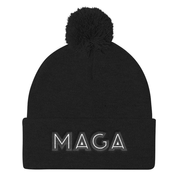 American Patriots Apparel Winter Hats Black MAGA Pom Pom Knit Cap (Flat Embroidery)