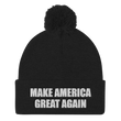 Load image into Gallery viewer, American Patriots Apparel Winter Hats Black / One Size MAKE AMERICA GREAT AGAIN White Text Pom Pom Knit Cap (10 Variants)