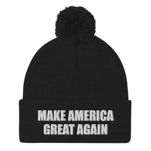 American Patriots Apparel Winter Hats Black / One Size MAKE AMERICA GREAT AGAIN White Text Pom Pom Knit Cap (10 Variants)