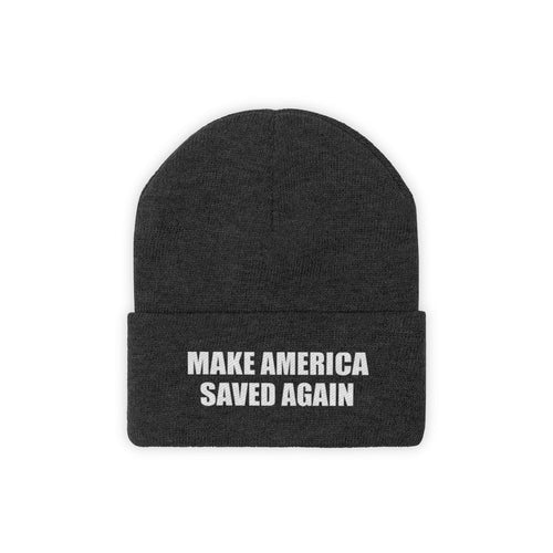 Printify Winter Hats Black / One size MAKE AMERICA SAVED AGAIN White Text Acrylic Knit Beanie (11 Variants)