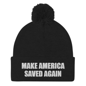 American Patriots Apparel Winter Hats Black / One Size MAKE AMERICA SAVED AGAIN White Text Pom Pom Knit Cap (10 Variants)