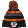 Load image into Gallery viewer, CustomCat Winter Hats Black/Orange / One Size Black Lives MAGA Striped Beanie with Pom (8 Variants)