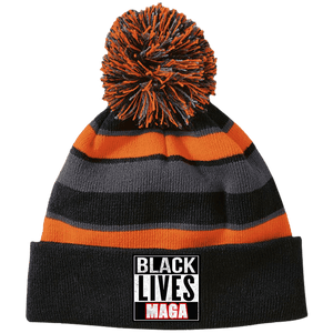 CustomCat Winter Hats Black/Orange / One Size Black Lives MAGA Striped Beanie with Pom (8 Variants)