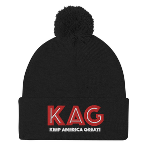 American Patriots Apparel Winter Hats Black / OSFA KAG Keep America Great! Pom-Pom Beanie (10 Variants)