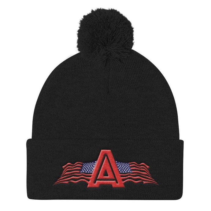 American Patriots Apparel Winter Hats Black Pom Pom Knit Cap With American Patriots Apparel Logo