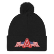 Load image into Gallery viewer, American Patriots Apparel Winter Hats Black Pom Pom Knit Cap With APA Logo
