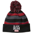 Load image into Gallery viewer, CustomCat Winter Hats Black/Scarlet / One Size Black Lives MAGA Striped Beanie with Pom (8 Variants)