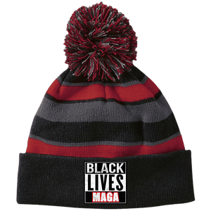 CustomCat Winter Hats Black/Scarlet / One Size Black Lives MAGA Striped Beanie with Pom (8 Variants)