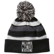 Load image into Gallery viewer, CustomCat Winter Hats Black/White / One Size All Lives Matter Not Just Black Ones Striped Beanie with Pom (8 Variants)