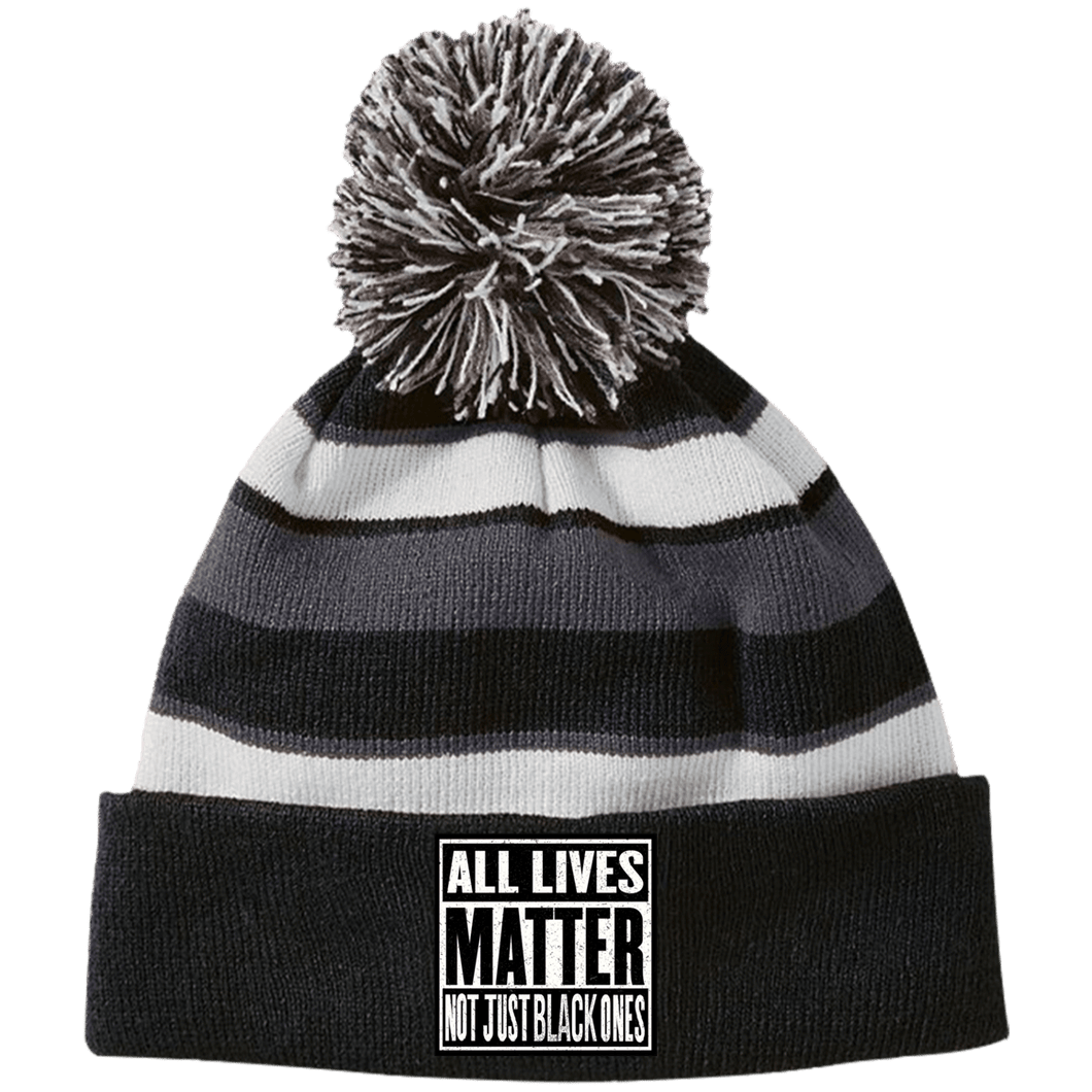 CustomCat Winter Hats Black/White / One Size All Lives Matter Not Just Black Ones Striped Beanie with Pom (8 Variants)