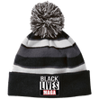 Load image into Gallery viewer, CustomCat Winter Hats Black/White / One Size Black Lives MAGA Striped Beanie with Pom (8 Variants)