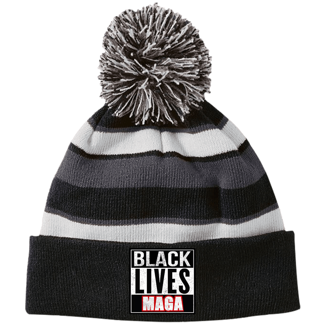 CustomCat Winter Hats Black/White / One Size Black Lives MAGA Striped Beanie with Pom (8 Variants)