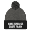 Load image into Gallery viewer, American Patriots Apparel Winter Hats Dark Heather Grey/ Black / One Size MAKE AMERICA GREAT AGAIN White Text Pom Pom Knit Cap (10 Variants)