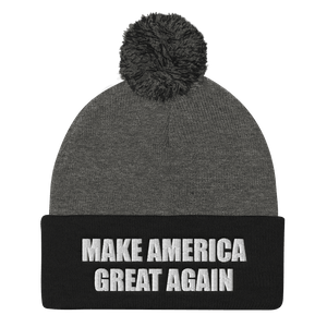 American Patriots Apparel Winter Hats Dark Heather Grey/ Black / One Size MAKE AMERICA GREAT AGAIN White Text Pom Pom Knit Cap (10 Variants)