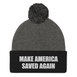 Load image into Gallery viewer, American Patriots Apparel Winter Hats Dark Heather Grey/ Black / One Size MAKE AMERICA SAVED AGAIN White Text Pom Pom Knit Cap (10 Variants)